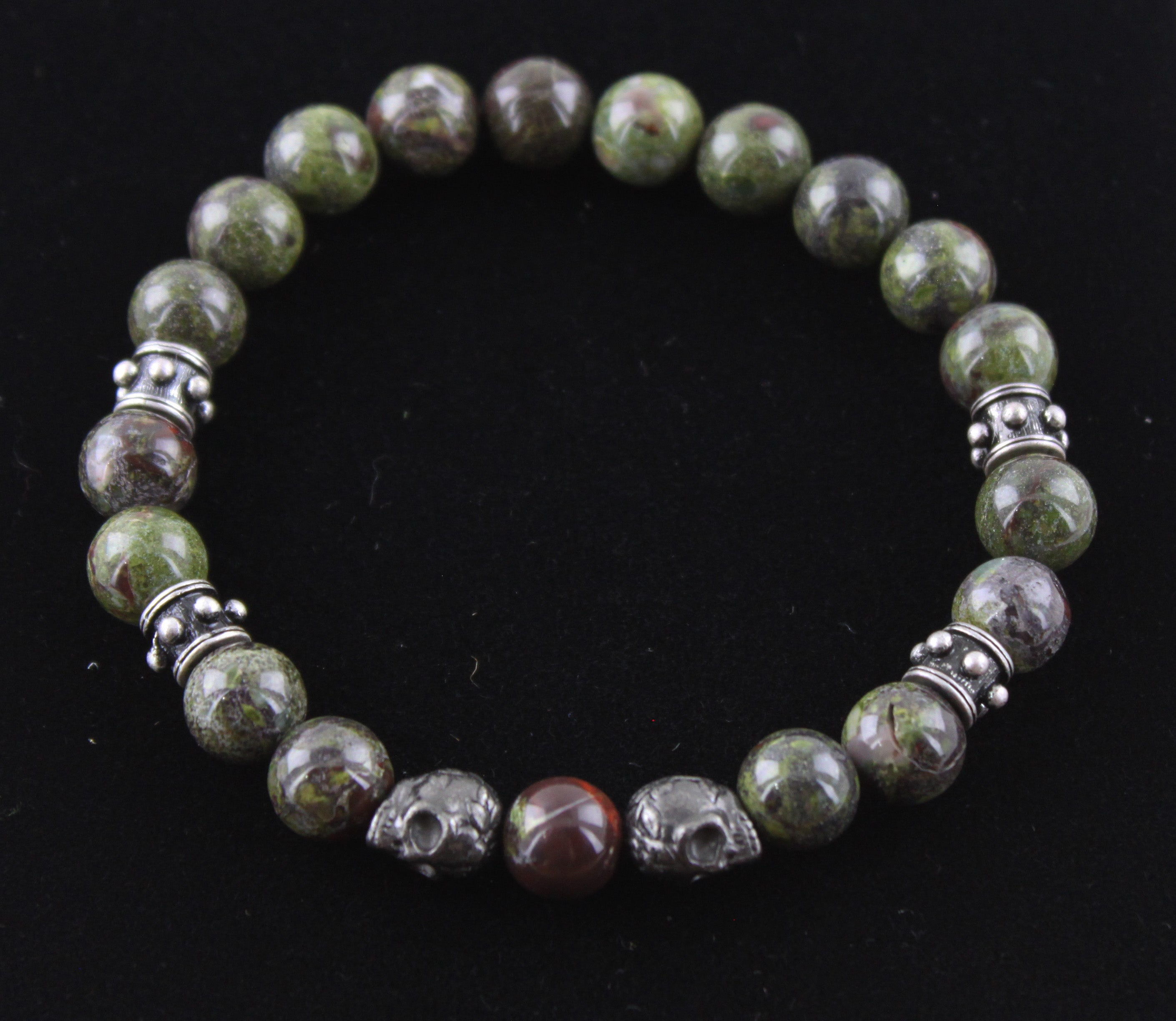 Dragon Blood Jasper with Skull Bracelet