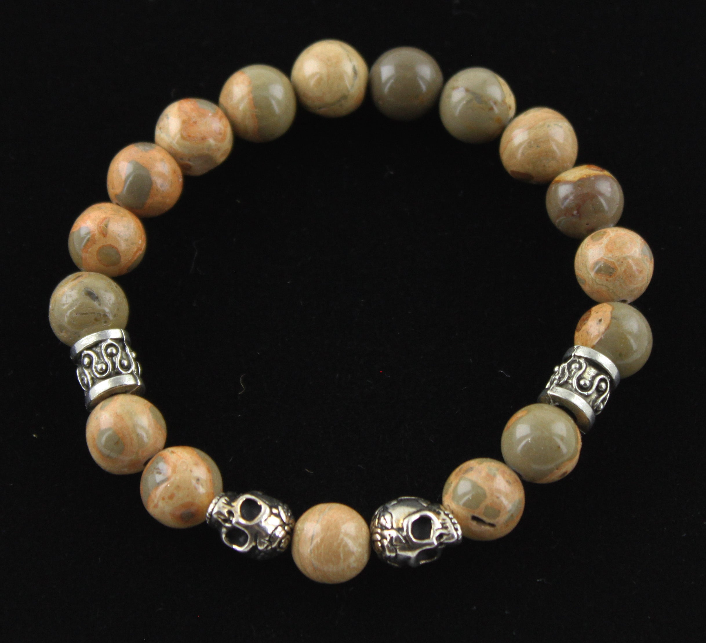 African Map Jasper and Mixed Metal Skull Bracelet