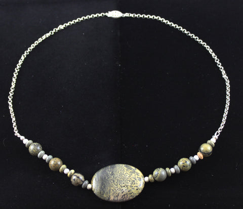Artistic Stone & Sterling Silver Necklace