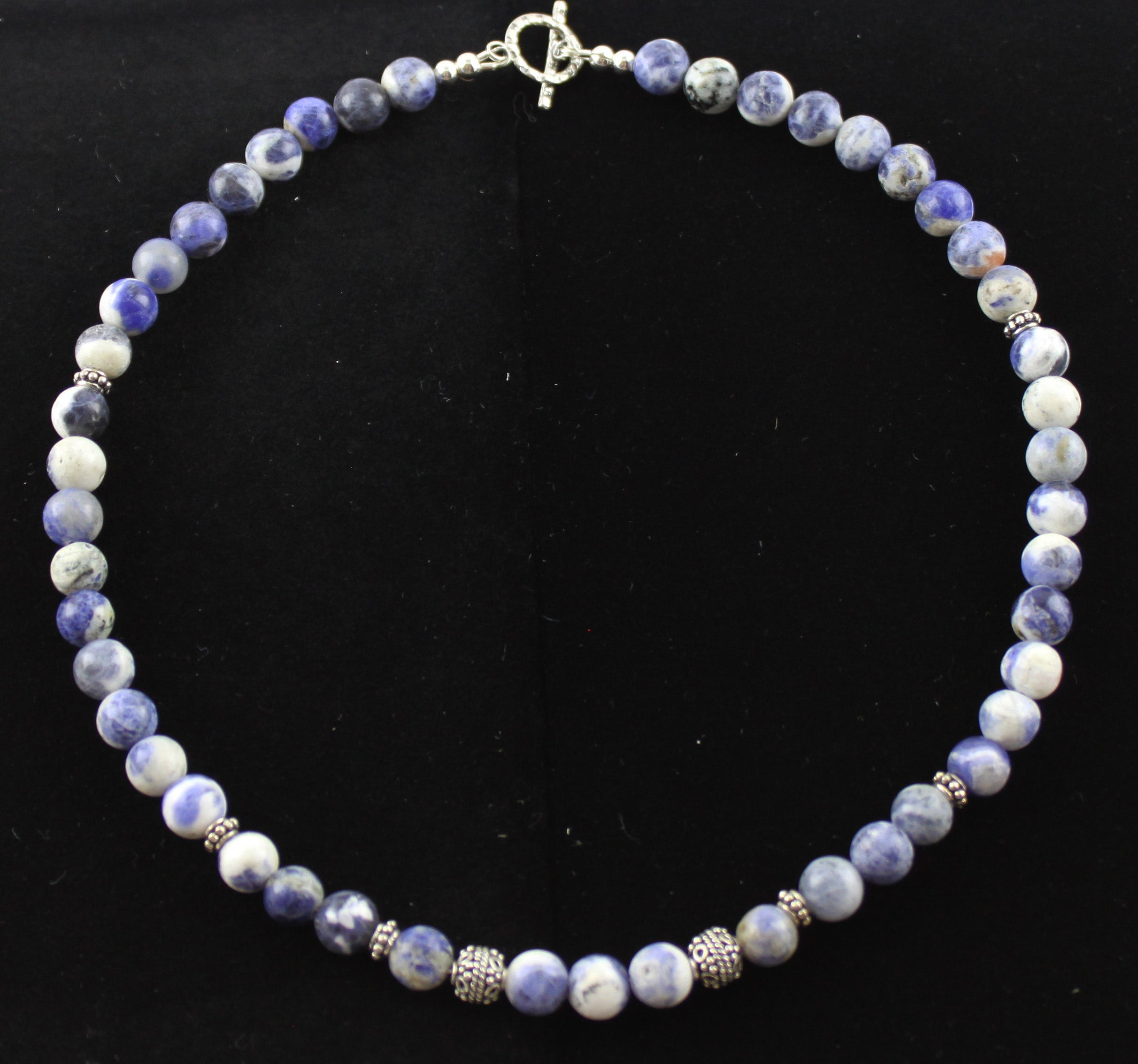 Blue Sodalite & Bali Bead Necklace