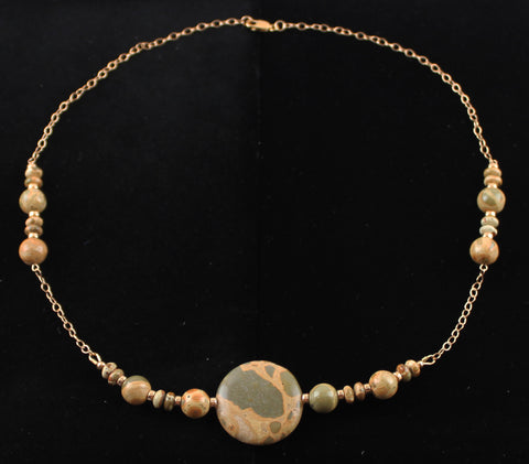 African Map Jasper and Rose Gold Filled Necklace