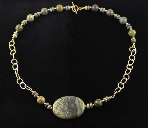 Artistic Stone with 14K Gold Filled Chain Necklace