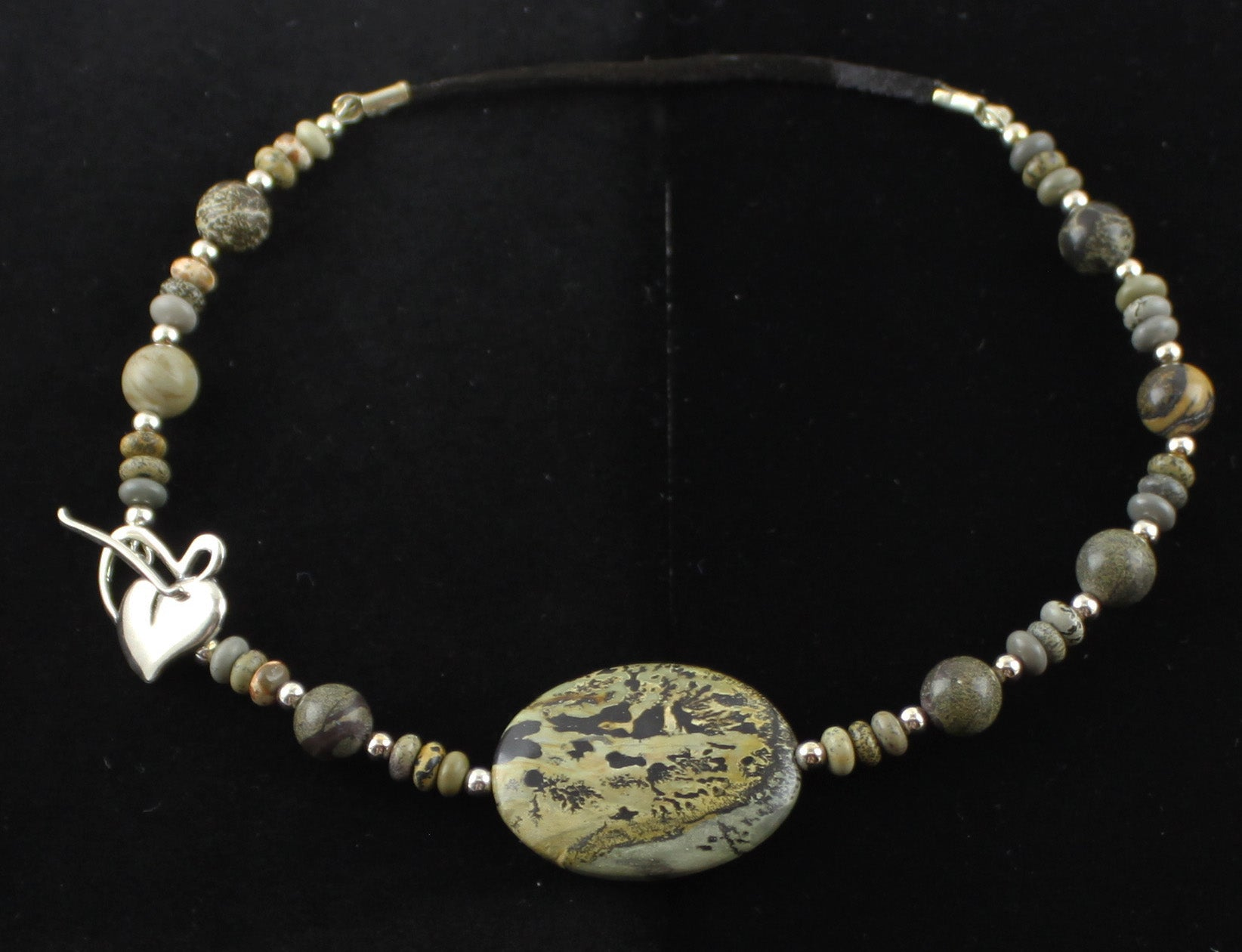 Artistic Stone Sterling Silver & Leather Necklace