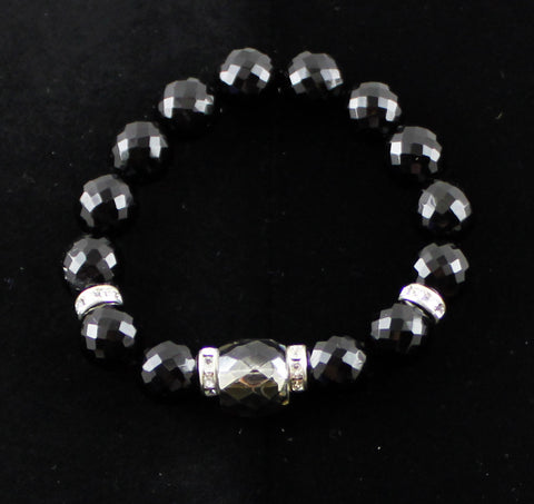 Black & Silver Czech Glass Bracelet