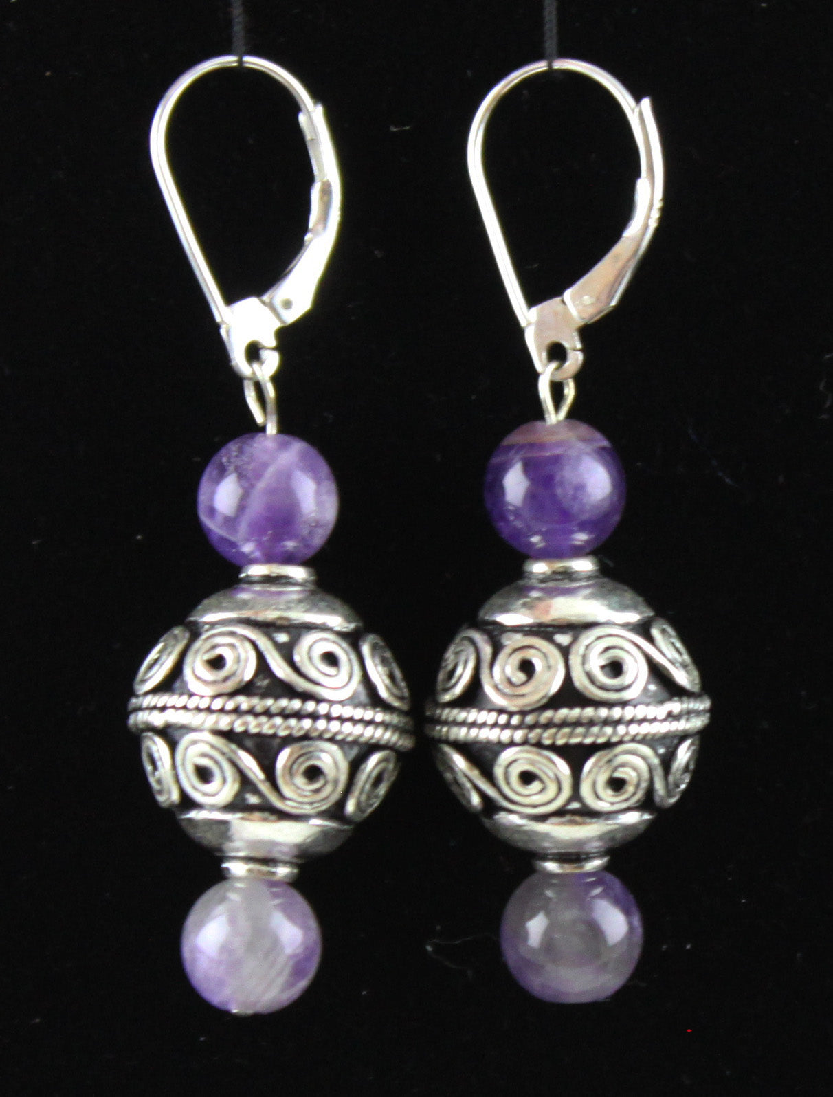 Large Bali Bead & Amethyst Earrings