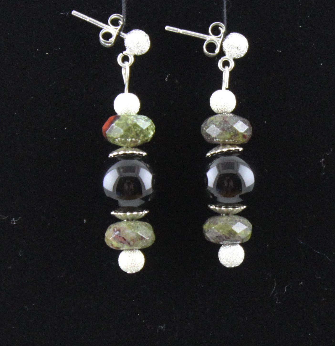 Dragon Blood Jasper & Black Onyx Earrings