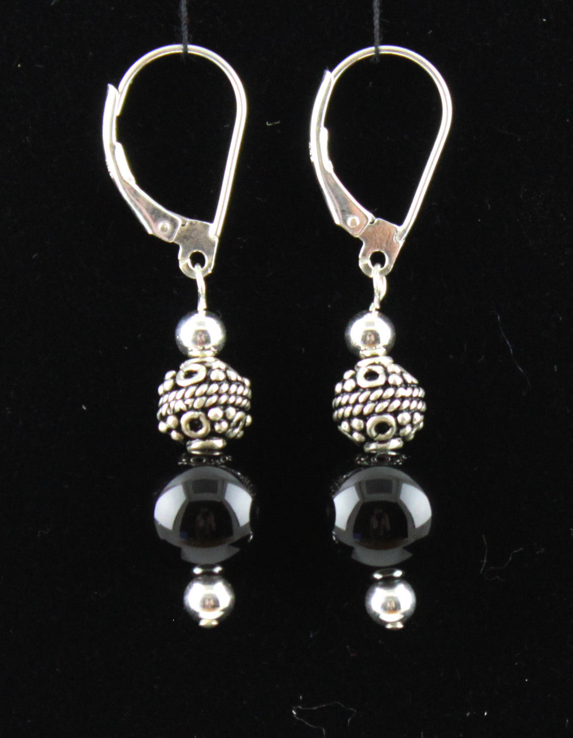 Bali Bead & Black Onyx Earrings