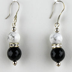 Classic Black, White and Sterling Silver Earrings