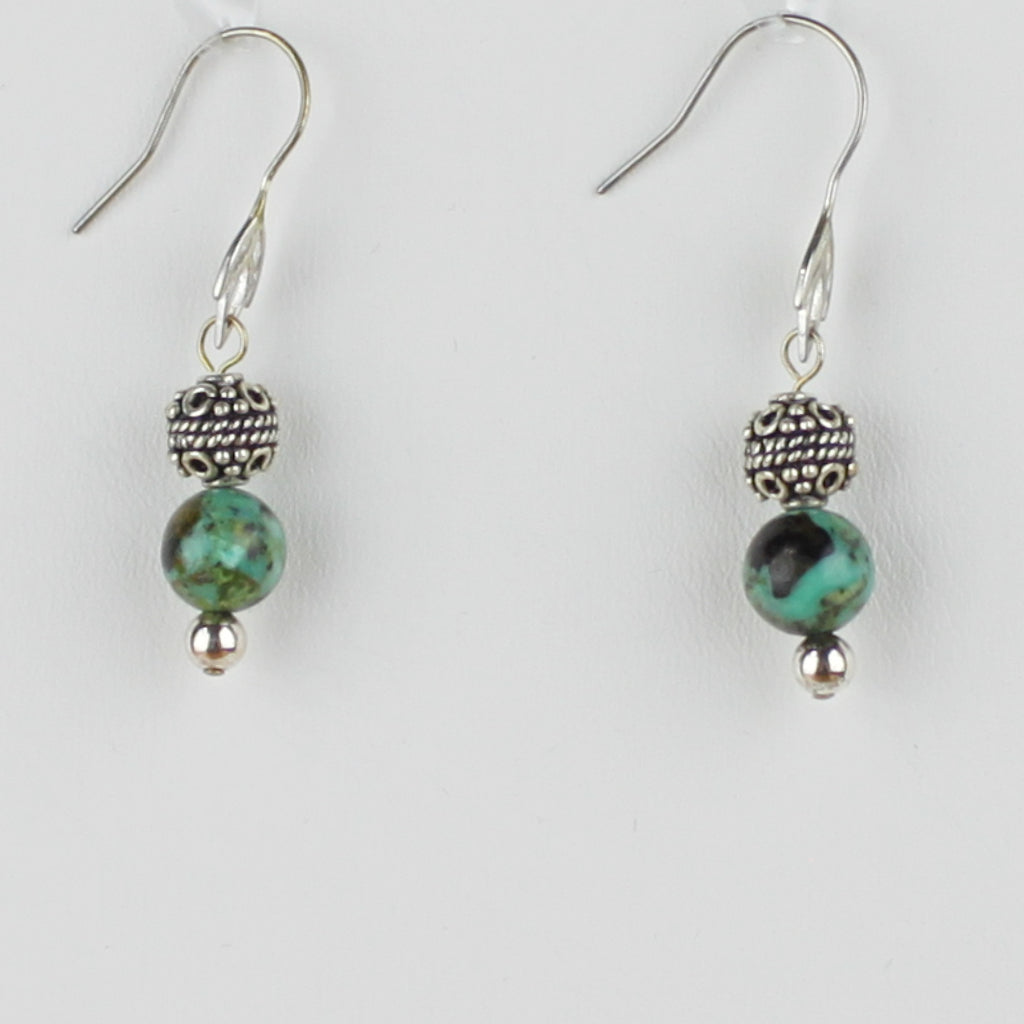 Bali Bead with African Turquoise Earrings