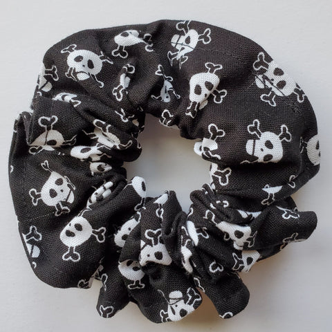 Black and White Skull Scrunchie