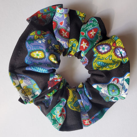 Back in Black Sugar Skull Scrunchie