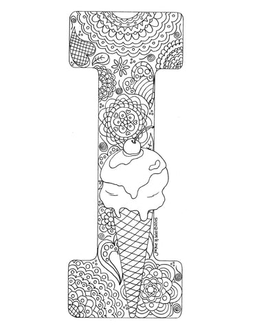 Letter I Colouring Page