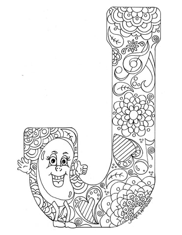 Letter J Colouring Page