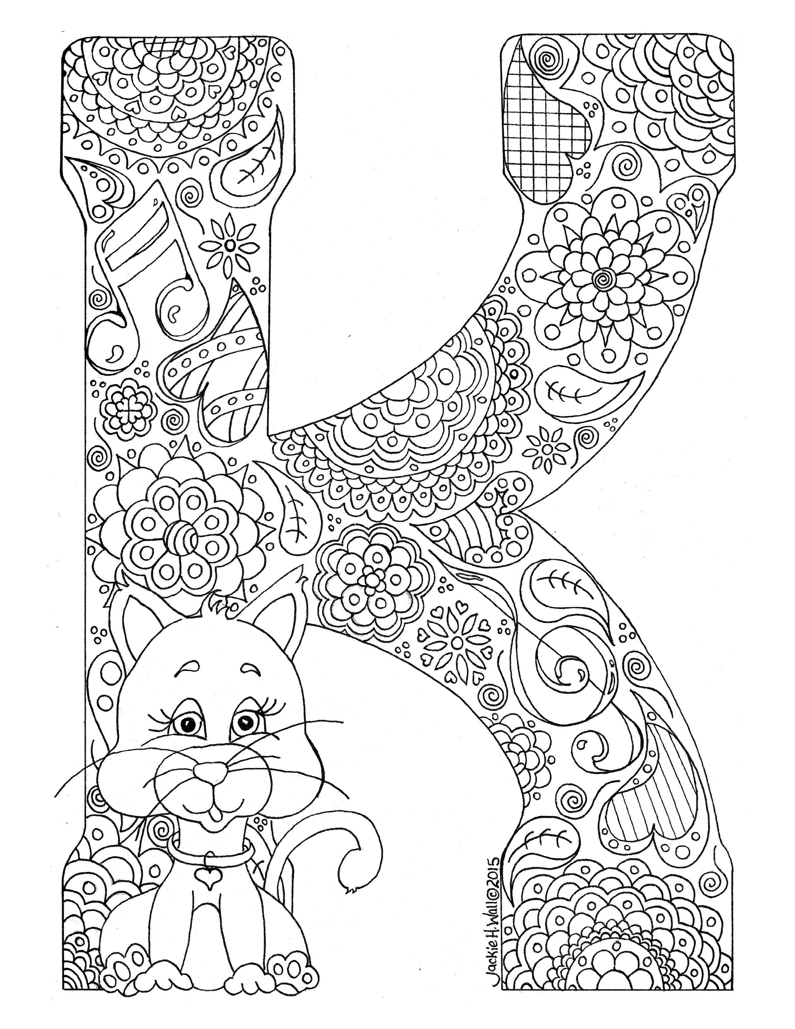 Letter K Colouring Page