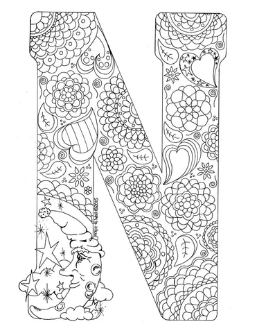 Letter N Colouring Page