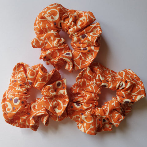 Orange Scrunchie with Skulls