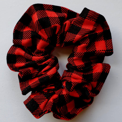 Red and Black Gingham Scrunchie