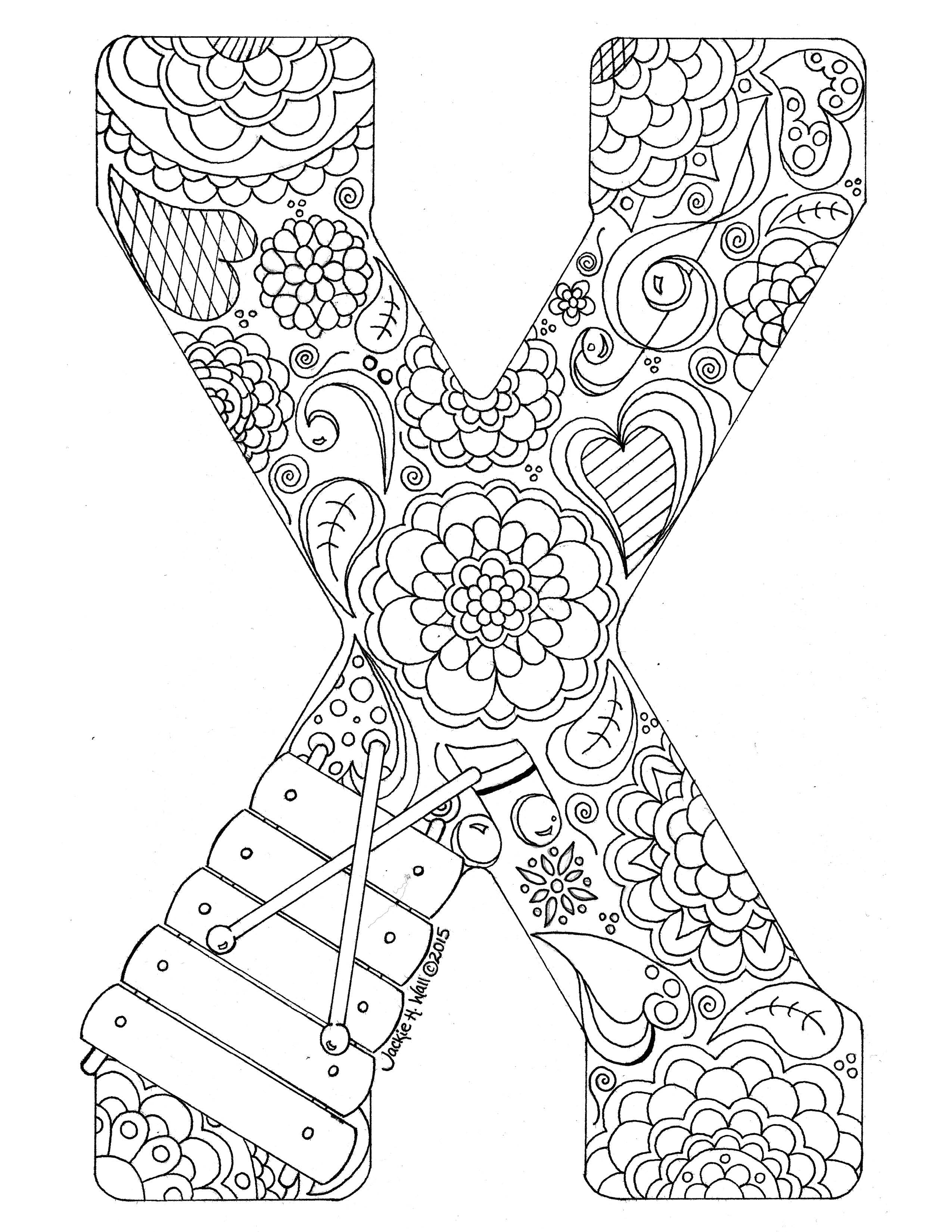Letter X Colouring Page