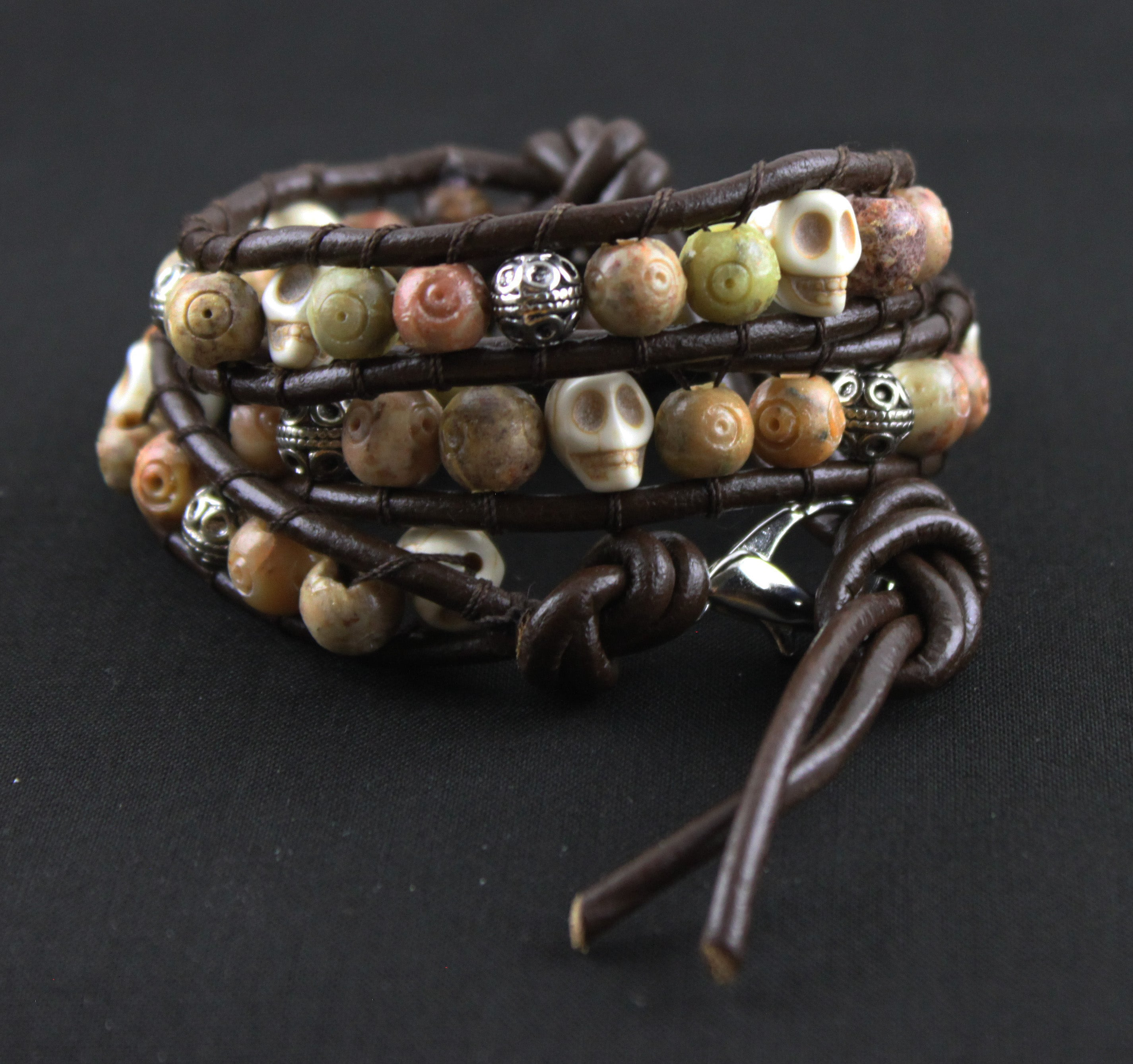 Mixed Metal and Stone Skull Wrap Bracelet