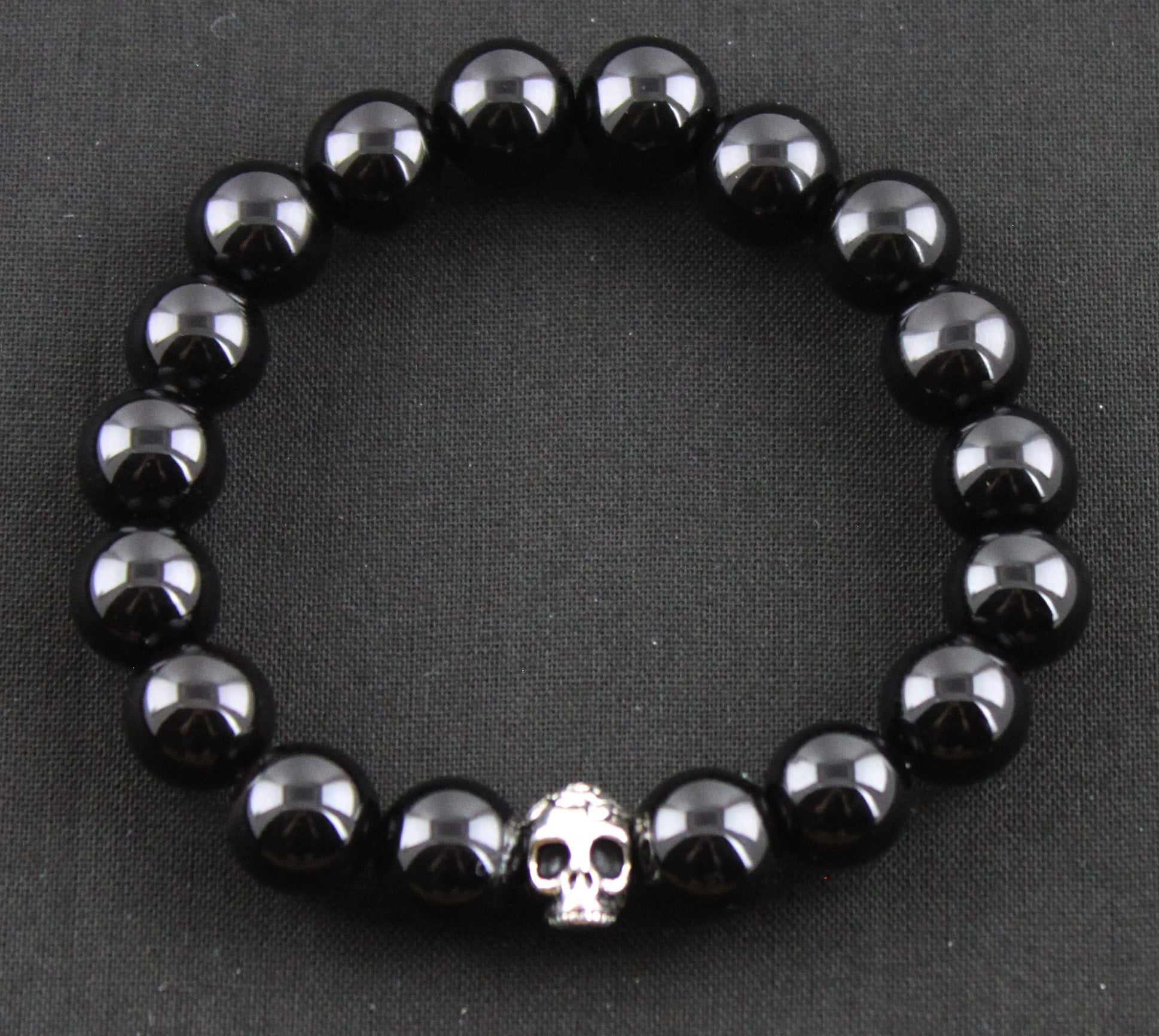 Black Onyx with Rose Skull Bead
