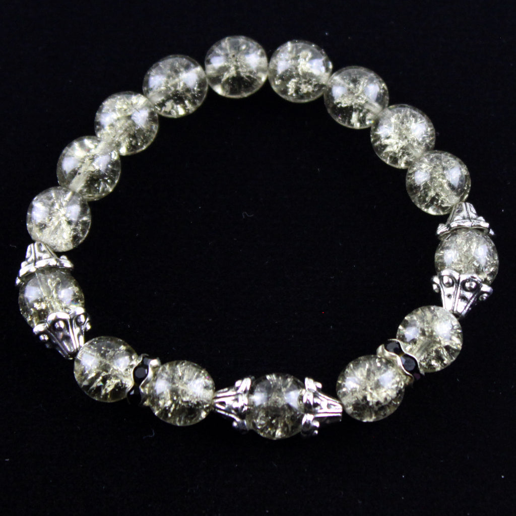 Cracked Grey Glass and Mixed Metal Bracelet