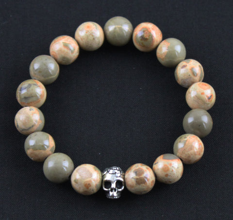 African Map Jasper Skull Stretch Bracelet