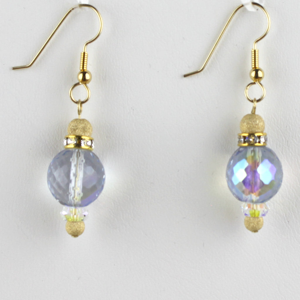Soft Blue Czech Glass and 14K Gold Filled Earrings
