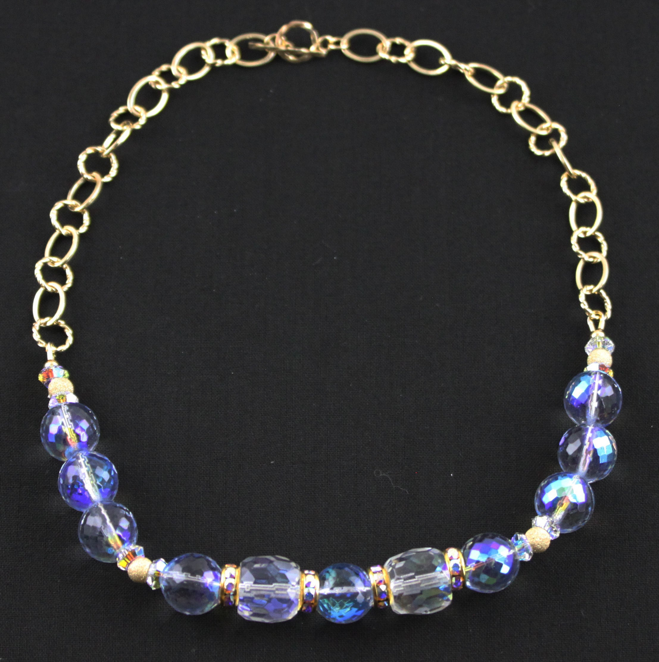 Winter Blue & Gold Filled Necklace