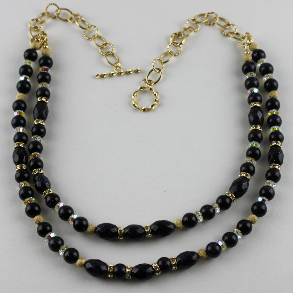 Gold Stone and Swarovski Crystal Necklace