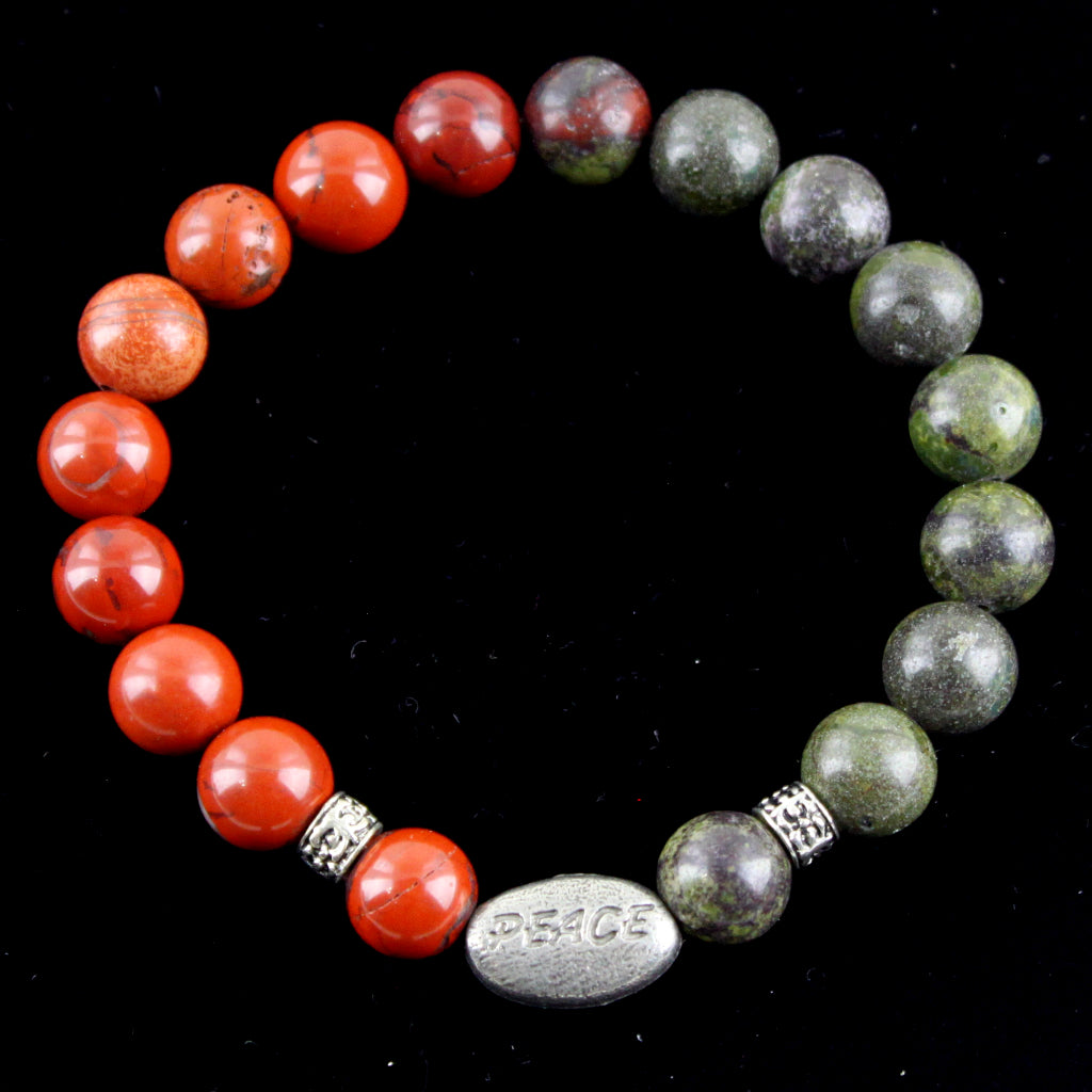 Peace Mixed Metal and Mixed Jasper Stretch Bracelet