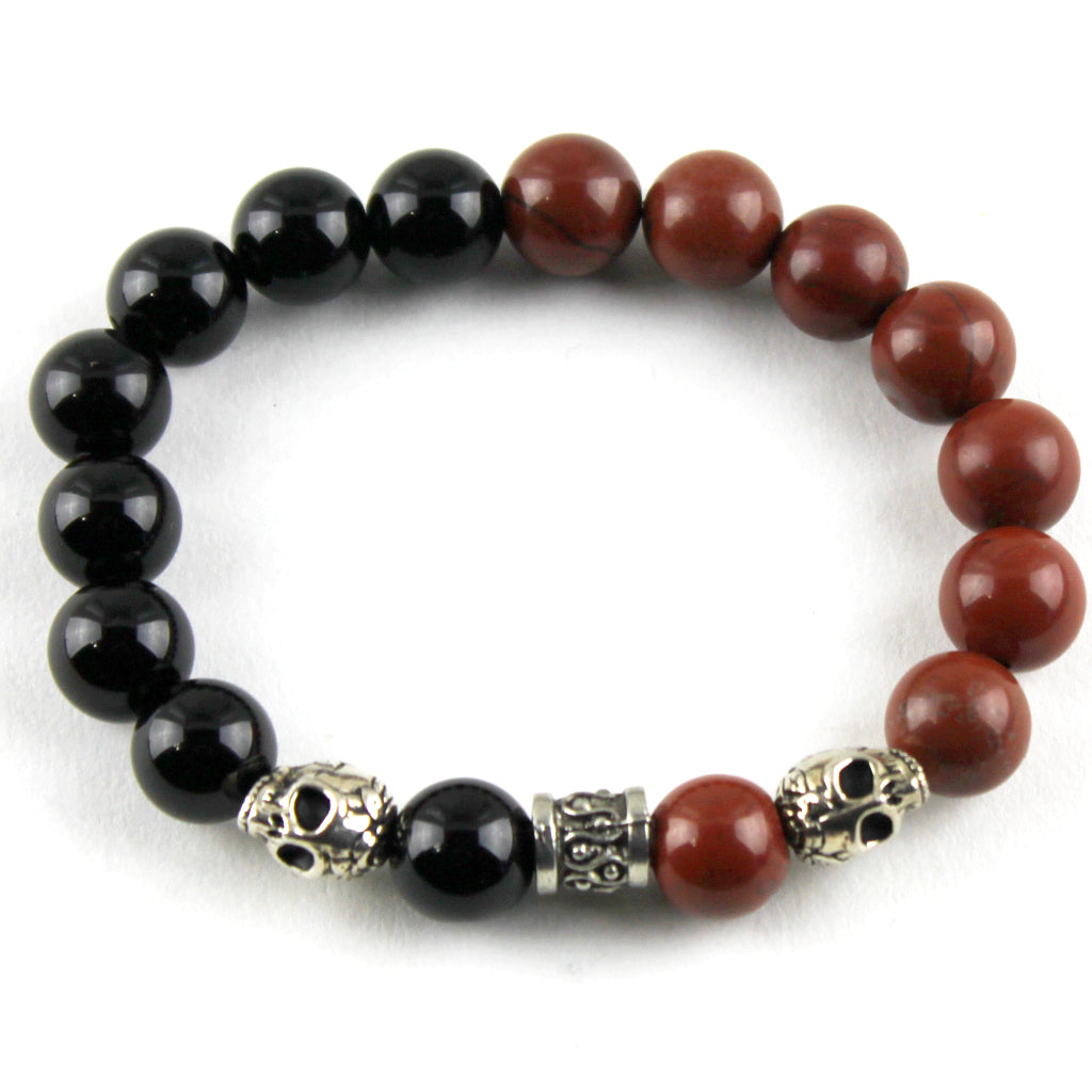 Duality Black Onyx and Red Jasper Bracelet