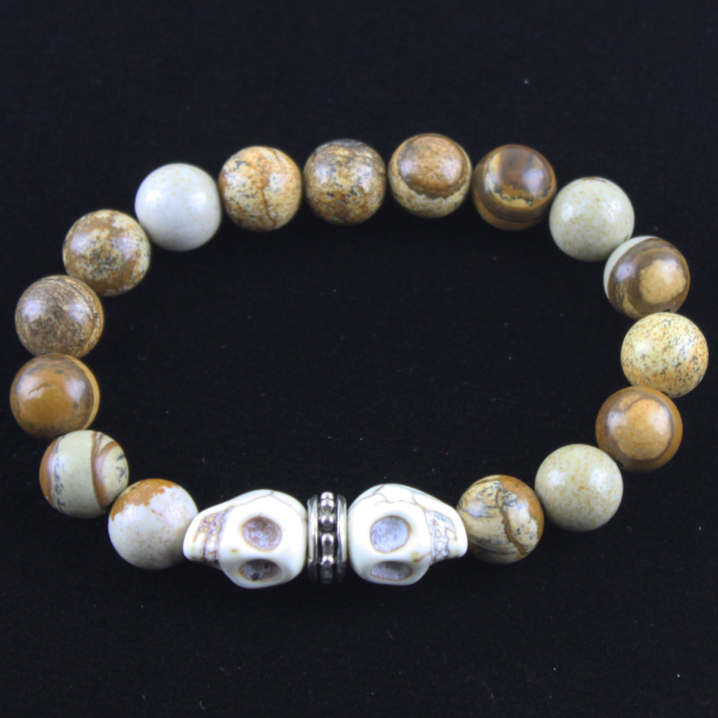 Natural Skull with Picture Jasper Bracelet