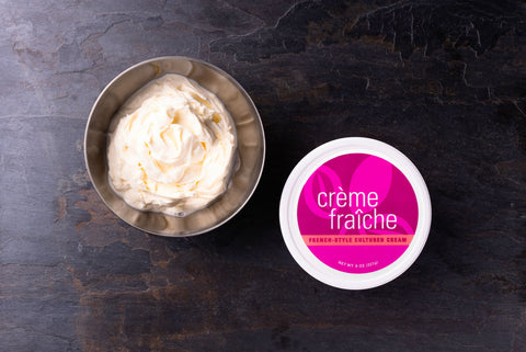 Creme Fraiche in a metal bowl overhead shot