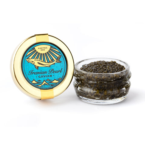 Opened Caspian Asetra 000 Caviar in a jar and lid