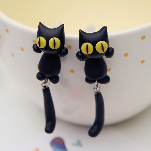 Handmade Clay Earrings - 3D Cat - Squishy Squish