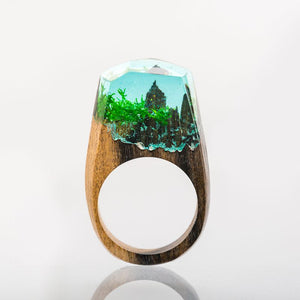 Mystic Wood Ring - Forest Scenery - Handmade & Unique - Squishy Squish