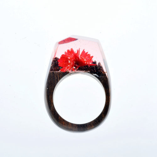 Mystic Wood Ring - Flowers Blossom  - Handmade & Unique - Squishy Squish