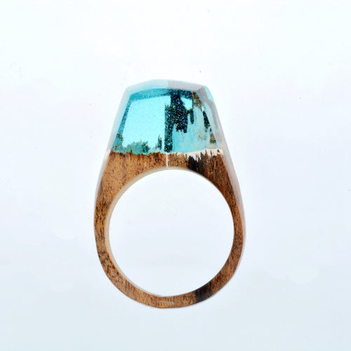Mystic Wood Ring - Blue Snow Mountain - Handmade & Unique - Squishy Squish