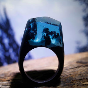 Mystic Wood Ring - Blue Mountains - Handmade & Unique - Squishy Squish