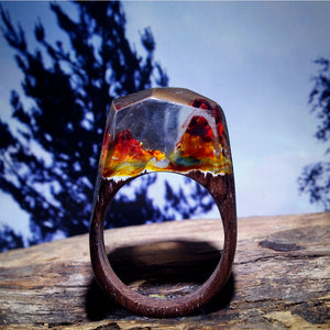 Mystic Wood Ring - Fire Inside - Handmade & Unique - Squishy Squish