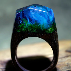 Mystic Wood Ring - Misty Forest - Handmade & Unique - Squishy Squish