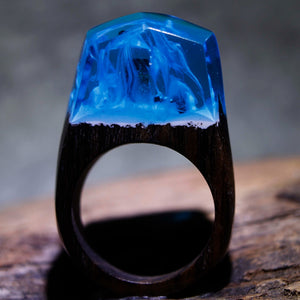 Mystic Wood Ring - Smoke Blue - Handmade & Unique - Squishy Squish