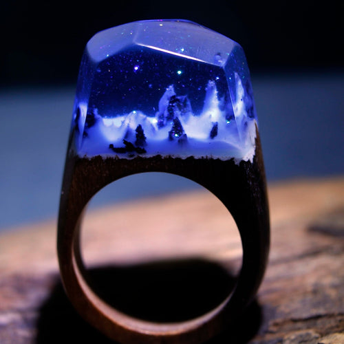 Mystic Wood Ring - Snow Mountain - Handmade & Unique - Squishy Squish