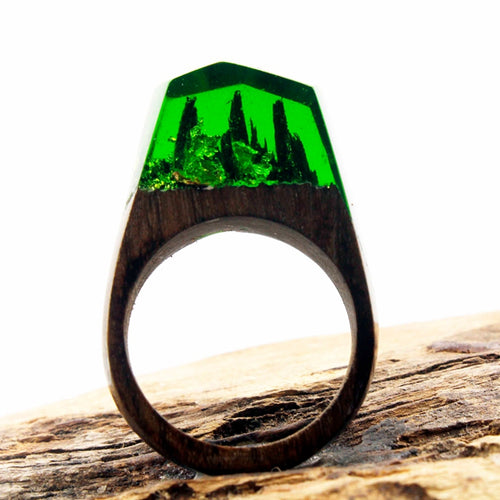 Mystic Wood Ring - Green Flake - Handmade & Unique - Squishy Squish