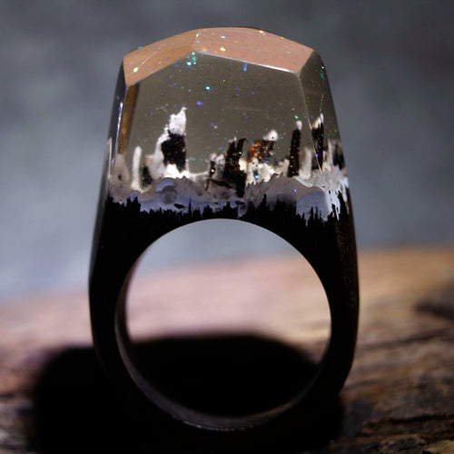 Mystic Wood Ring - Transparent Mountains - Handmade & Unique - Squishy Squish