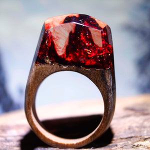 Mystic Wood Ring - Red Blood Design - Handmade & Unique - Squishy Squish