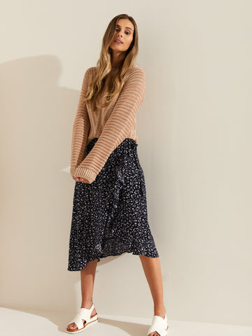 Printed Fern Ruffle Skirt