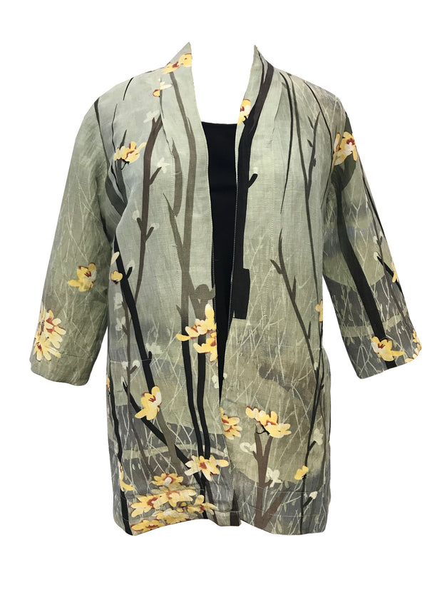 Open Front Silk Blend Jacket