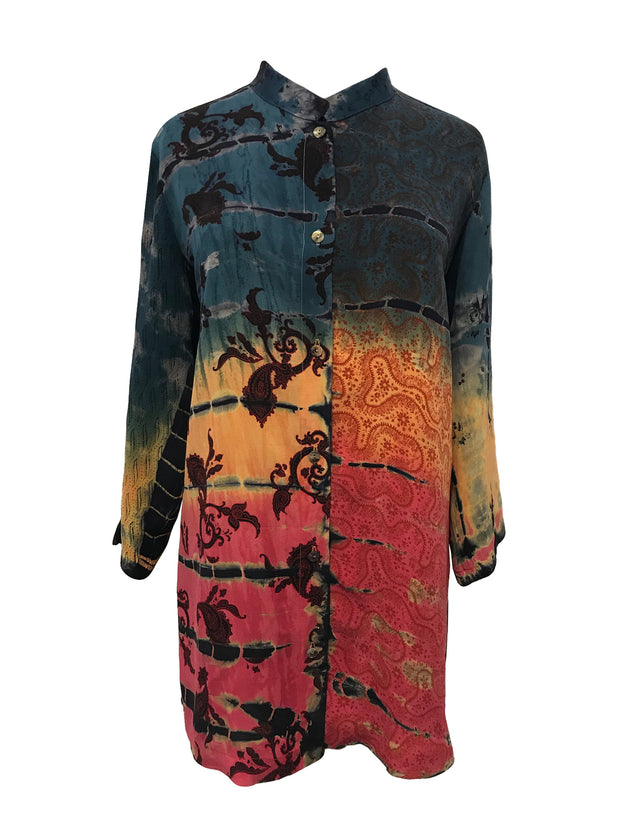 Long tunic length top/duster in 100% Silk