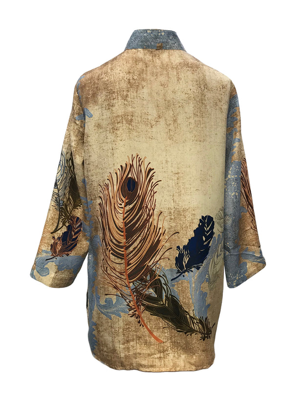 Abstract Peacock Feathers Button Front Tunic in 100% Silk
